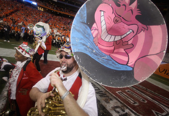 GLENDALE, AZ - JANUARY 02:  A member of the Stanford Cardinal marching band performs against the Oklahoma State Cowboys during the Tostitos Fiesta Bowl on January 2, 2012 at University of Phoenix Stadium in Glendale, Arizona.  (Photo by Donald Miralle/Get