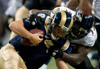 ST. LOUIS, MO - SEPTEMBER 25: Sam Bradford #8 of the St. Louis Rams is sacked by Terrell Suggs #55 of the Baltimore Ravens at the Edward Jones Dome on September 25, 2011 in St. Louis, Missouri. (Photo by Jeff Curry/Getty Images)