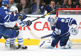 TORONTO, CANADA - JANUARY 05:  Jonas Gustavsson #50 of the Toronto Maple Leafs turns a shot aside in a game against the Winnipeg Jets on January 5, 2012 at the Air Canada Centre in Toronto, Canada. The Leafs defeated the Jets 4-0. (Photo by Claus Andersen