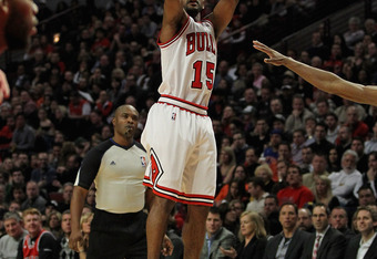CHICAGO, IL - JANUARY 09:  John Lucas III #15 of the Chicago Bulls puts up a shot against the Detroit Pistons at the United Center on January 9, 2012 in Chicago, Illinois. The Bulls defeated the Pistons 92-68. NOTE TO USER: User expressly acknowledges and