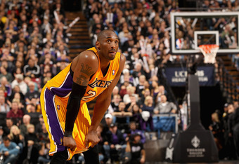SACRAMENTO, CA - DECEMBER 26:  Kobe Bryant #24 of the Los Angeles Lakers in action against the Sacramento Kings at Power Balance Pavilion on December 26, 2011 in Sacramento, California.  NOTE TO USER: User expressly acknowledges and agrees that, by downlo