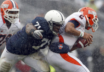 STATE COLLEGE, PA - OCTOBER 29:  Devon Still #71 of the Penn State Nittany Lions sacks Nathan Scheelhaase #2 of the Illinois Fighting Illini during the game on October 29, 2011 at Beaver Stadium in State College, Pennsylvania.  (Photo by Justin K. Aller/G