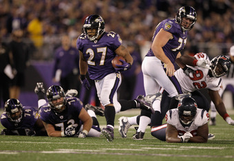 BALTIMORE, MD - OCTOBER 16:  Running back  Ray Rice #27 of the Baltimore Ravens carries the ball against the Houston Texans at M&T Bank Stadium on October 16, 2011 in Baltimore, Maryland. The Ravens won 29-14.  (Photo by Rob Carr/Getty Images)