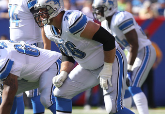 EAST RUTHERFORD, NJ - OCTOBER 17: Jeff Backus #76 of the Detroit Lions against the New York Giants at New Meadowlands Stadium on October 17, 2010 in East Rutherford, New Jersey.  (Photo by Nick Laham/Getty Images)