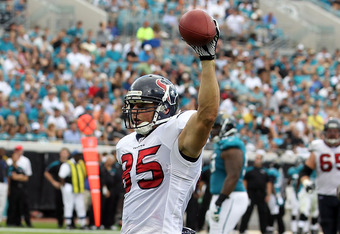 JACKSONVILLE, FL - NOVEMBER 27:  Joel Dreessen #85 of the Houston Texans celebrates following a touchdown during the game against the Jacksonville Jaguars at EverBank Field on November 27, 2011 in Jacksonville, Florida.  (Photo by Sam Greenwood/Getty Imag