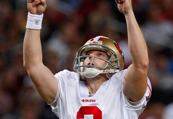ST. LOUIS, MO - JANUARY 1:  Kicker David Akers #2 of the San Francisco 49ers celebrates a field goal in front of Nick Miller #17 of the St. Louis Rams in the first half of the game on January 1, 2012 at the Edward Jones Dome in St. Louis, Missouri. (Photo