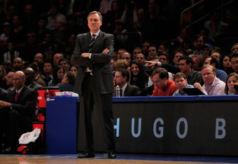 NEW YORK, NY - JANUARY 09: Head coach Mike D'Antoni of the New York Knicks watches his team play the Charlotte Bobcats at Madison Square Garden on January 9, 2012 in New York City. NOTE TO USER: User expressly acknowledges and agrees that, by downloading