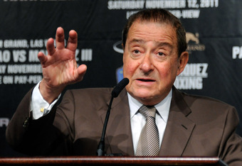 LAS VEGAS, NV - NOVEMBER 09:  Top Rank Founder and CEO Bob Arum speaks during the final news conference for the bout between boxers Manny Pacquiao and Juan Manuel Marquez at the MGM Grand Hotel/Casino November 9, 2011 in Las Vegas, Nevada. Pacquiao will d