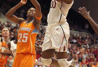 PALO ALTO, CA - DECEMBER 20:  Nnemkadi Ogwumike #30 of the Stanford Cardinal shoots over Glory Johnson #25 of the Tennessee Lady Volunteers at Maples Pavilion on December 20, 2011 in Palo Alto, California.  (Photo by Ezra Shaw/Getty Images)