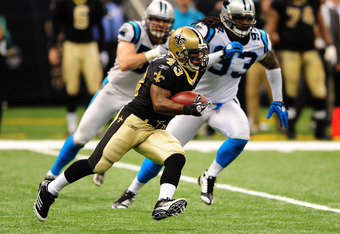 NEW ORLEANS, LA - JANUARY 1: Darren Sproles #43 of the New Orleans Saints carries the ball against the Carolina Panthers at the Mercedes-Benz Superdome on January 1, 2012 in New Orleans, Louisiana  (Photo by Scott Cunningham/Getty Images)