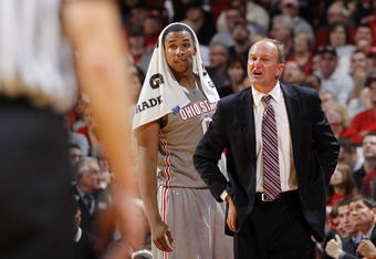 COLUMBUS, OH - NOVEMBER 15: Jared Sullinger #0 of the Ohio State Buckeyes looks on as head coach Thad Matta argues with an official during the game against the Florida Gators at Value City Arena on November 15, 2011 in Columbus, Ohio. Ohio State defeated