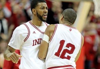 BLOOMINGTON, IN - DECEMBER 10:  Christian Watford #2 of the Indiana Hoosiers  and Verdell Jones III #12 celebrate during the Indiana 73-72 victory over the Kentucky Wildcats at Assembly Hall on December 10, 2011 in Bloomington, Indiana.  (Photo by Andy Ly