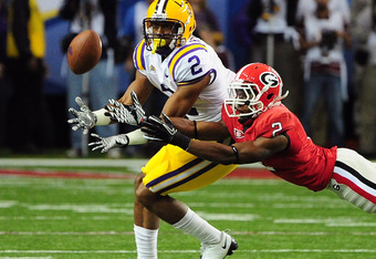 ATLANTA, GA - DECEMBER 3: Brandon Boykin #2 of the Georgia Bulldogs defends a pass against Rueben Randle #2 of the LSU Tigers during the SEC Championship Game at the Georgia Dome on December 3, 2011 in Atlanta, Georgia. (Photo by Scott Cunningham/Getty Im