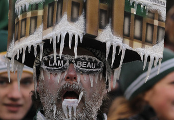 GREEN BAY, WI - JANUARY 01:  A fan of the Green Bay Packers wears a frozen Lambeau Field hat during a game against the Detroit Lions at Lambeau Field on January 1, 2012 in Green Bay, Wisconsin.  (Photo by Jonathan Daniel/Getty Images)
