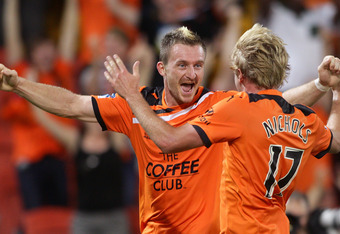 Mitch Nichols and Besart Berisha after combining to give Brisbane Roar the win