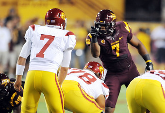 TEMPE, AZ - SEPTEMBER 24:   Vontaze Burfict #7 of the Arizona State Sun Devils points and yells at quarterback Matt Barkley #7 of the University of Southern California Trojans just prior to a play at Sun Devil Stadium on September 24, 2011 in Tempe, Arizo