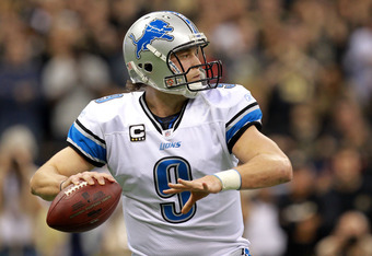 NEW ORLEANS, LA - JANUARY 07:  Matthew Stafford #9 of the Detroit Lions drops back to pass against the New Orleans Saints during their 2012 NFC Wild Card Playoff game at Mercedes-Benz Superdome on January 7, 2012 in New Orleans, Louisiana.  (Photo by Rona