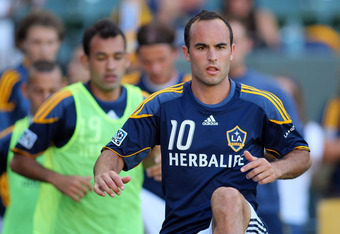 CARSON, CA - JULY 09:  Landon Donovan #10 of the Los Angeles Galaxy warms up prior to the MLS match against the Chicago Fire at The Home Depot Center on July 9, 2011 in Carson, California. The Galaxy defeated the Fire 2-1.  (Photo by Victor Decolongon/Get