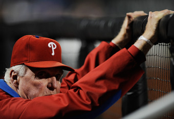 NEW YORK, NY - SEPTEMBER 24:  Philadelphia Phillies manager Charlie Manuel looks on before a game against the New York Mets at Citi Field on September 24, 2011 in the Flushing neighborhood of the Queens borough of New York City.  (Photo by Patrick McDermo