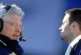 3 Dec 2000: Head Coach Mike Martz of the St. Louis Rams talks to Quarterback Kurt Warner #13 during the game against the Carolina Panthers at the Ericsson Stadium in Charlotte, North Carolina.  The Panthers defeated the Rams 16-3.Mandatory Credit: Scott H