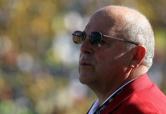 PASADENA, CA - JANUARY 02:  Director of Athletics Barry Alvarez of the Wisconsin Badgers stands on the field before the Badgers take on the Oregon Ducks in the 98th Rose Bowl Game on January 2, 2012 in Pasadena, California.  (Photo by Jeff Gross/Getty Ima