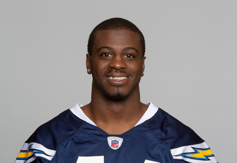 SAN DIEGO, CA - CIRCA 2011: In this handout image provided by the NFL, Shareece Wright of the San Diego Chargers poses for his NFL headshot circa 2011 in San Diego, California. (Photo by NFL via Getty Images)