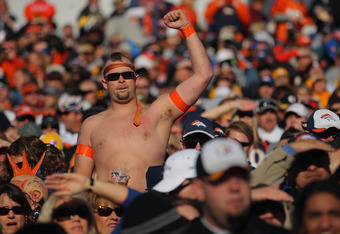 DENVER, CO - JANUARY 08:  A fan shows his support of the Denver Broncos against the Pittsburgh Steelers at Sports Authority Field at Mile High on January 8, 2012 in Denver, Colorado. The Broncos defeated the Steelers 29-23 in overtime of their AFC Wild Ca