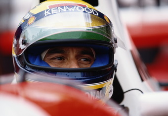 Ayrton Senna, driver of the #8 Marlboro McLarenMP4-8 Ford HB 3.5 V8 during practice for the Sega European Grand Prix on 10th April 1993 at the Donington Park Circuit, Castle Donington, Great Britain.(Photo by Pascal Rondeau/Getty Images)
