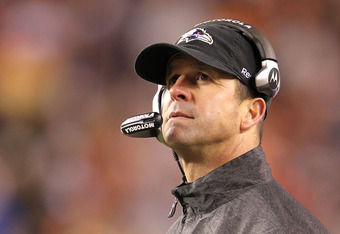 CINCINNATI, OH - JANUARY 01:  John Harbaugh the head coach of the Baltimore Ravens watches the action during the NFL game against  the Cincinnati Bengals at Paul Brown Stadium on January 1, 2012 in Cincinnati, Ohio.  (Photo by Andy Lyons/Getty Images)