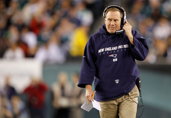 PHILADELPHIA, PA - NOVEMBER 27:  Head coach Bill Belichick of the New England Patriots looks on against the Philadelphia Eagles at Lincoln Financial Field on November 27, 2011 in Philadelphia, Pennsylvania. The Patriots won 38-20.  (Photo by Rich Schultz/