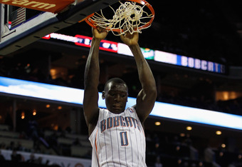 CHARLOTTE, NC - JANUARY 14:  Bismack Biyombo #0 of the Charlotte Bobcats dunks the ball during their game against the Golden State Warriors at Time Warner Cable Arena on January 14, 2012 in Charlotte, North Carolina.  NOTE TO USER: User expressly acknowle