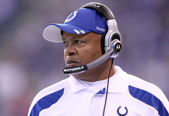 INDIANAPOLIS, IN - DECEMBER 18:  Jim Caldwell the head coach of the Indianapolis Colts watches the action during Colts 27-13 win over the Tennessee Titans in the NFL game at Lucas Oil Stadium on December 18, 2011 in Indianapolis, Indiana.  (Photo by Andy