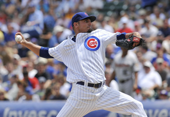 CHICAGO, IL - JULY 24: Matt Garza #17 of the Chicago Cubs pitches against the Houston Astros on July 24, 2011 at Wrigley Field in Chicago, Illinois.  (Photo by David Banks/Getty Images)