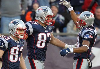 FOXBORO, MA - JANUARY 1:   Rob Gronkowski #87 of the New England Patriots celebrates a touchdown with teammates Wes Welker #83 and Matthew Slater #18 in the second half against the Buffalo Bills  at Gillette Stadium on January 1, 2012 in Foxboro, Massachu