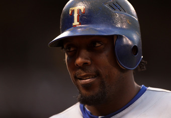 SAN FRANCISCO - OCTOBER 27:  Vladimir Guerrero #27 of the Texas Rangers looks on against the San Francisco Giants in Game One of the 2010 MLB World Series at AT&T Park on October 27, 2010 in San Francisco, California.  (Photo by Jed Jacobsohn/Getty Images
