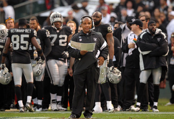 OAKLAND, CA - NOVEMBER 27:  Oakland Raiders head coach Hue Jackson stands on the sidelines during their game against the Chicago Bears at O.co Coliseum on November 27, 2011 in Oakland, California.  (Photo by Ezra Shaw/Getty Images)