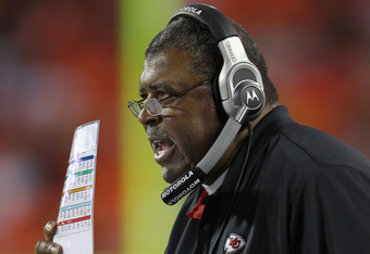 KANSAS CITY, MO - SEPTEMBER 02:  Defensive Coordinator Romeo Crennel of the Kansas City Chiefs looks on from the sidelines during the game against  the Green Bay Packers on September 2, 2010 at Arrowhead Stadium in Kansas City, Missouri.  (Photo by Jamie