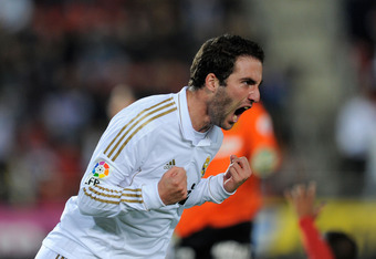 PALMA DE MALLORCA, SPAIN - JANUARY 14:  Gonzalo Higuain of Real Madrid celebrates after scoring Real's opening goal during the La Liga match between RCD Mallorca and Real Madrid at Iberostar Stadium on January 14, 2012 in Palma de Mallorca, Spain.  (Photo