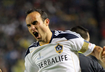 CARSON, CA - NOVEMBER 20:  Landon Donovan #10 of the Los Angeles Galaxy jubilates after scoring the eventual game-winning goal against the Houston Dynamo in the second half during 2011 MLS Cup at The Home Depot Center on November 20, 2011 in Carson, Calif