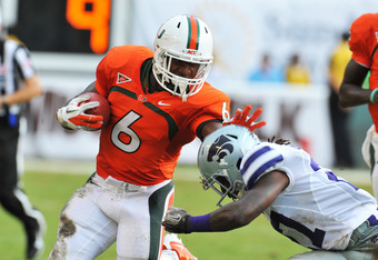 MIAMI GARDENS, FL - SEPTEMBER 24:  Running back Lamar Miller  #6 of the Miami Hurricanes rushes upfield against the Kansas State University Wildcats September 24, 2011 at Sun Life Stadium in Miami Gardens, Florida.  (Photo by Al Messerschmidt/Getty Images
