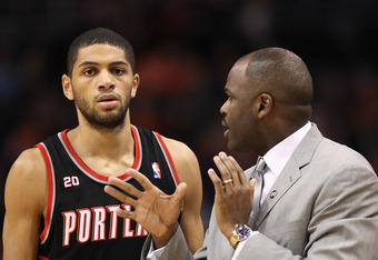 Nicolas Batum and head coach Nate McMillan
