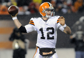 CLEVELAND, OH - DECEMBER 4: Quarterback Colt McCoy #12 of the Cleveland Browns passes during the second quarter against the Baltimore Ravens at Cleveland Browns Stadium on December 4, 2011 in Cleveland, Ohio. (Photo by Jason Miller/Getty Images)