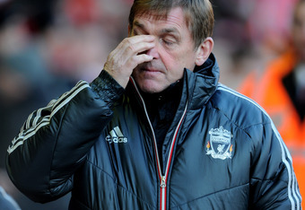 LIVERPOOL, ENGLAND - JANUARY 14:  Liverpool Manager Kenny Dalglish looks on prior to the Barclays Premier League match between Liverpool and Stoke City at Anfield on January 14, 2012 in Liverpool, England.  (Photo by Michael Regan/Getty Images)