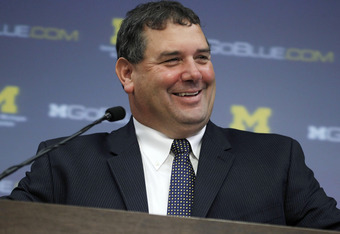 ANN ARBOR, MI - JANUARY 12:  New University of Michigan head football coach Brady Hoke talks during his introductory press confrence at the Junge Family Champions Center on January 12, 2011 in Ann Arbor, Michigan.  (Photo by Gregory Shamus/Getty Images)