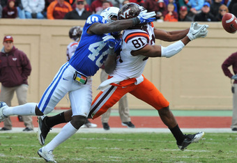 DURHAM, NC - OCTOBER 29:  Safety Matt Daniels #40 of the Duke Blue Devils defends against a pass to split end Jarrett Boykin #81 of the Virginia Tech Hokies October 29, 2011 at Wallace Wade Stadium in Durham, North Carolina. The Hokies won 14-10.  (Photo