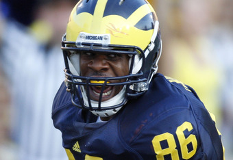 ANN ARBOR, MI - SEPTEMBER 27:  Kevin Koger #86 of the Michigan Wolverines reacts after a third quarter touchdown catch against the Wisconsin Badgers on September 27, 2008 at Michigan Stadium in Ann Arbor, Michigan. (Photo by Gregory Shamus/Getty Images)