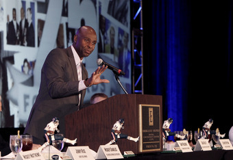 FRISCO, TX - JANUARY 6: Former wide receiver Jerry Rice of the San Francisco 49ers speaks during the FCS Awards Banquet at the Frisco Convention Center on January 6, 2012, in Frisco, Texas. (Photo by Brandon Wade/Getty Images for The Sports Network)
