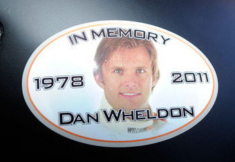 TALLADEGA, AL - OCTOBER 21:  A sticker in memory of Dan Wheldon, who was killed in a crash on October 16, 2011 during the IZOD IndyCar series finale at Las Vegas Motor Speedway, is seen on the car of Ryan Newman, driver of the #39 U.S. Army Chevrolet, pri