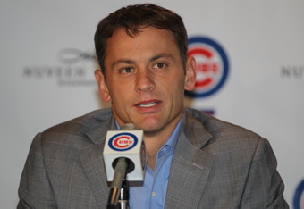 CHICAGO, IL - NOVEMBER 18: General Manager Jed Hoyer of the Chicago Cubs speaks at a press conference introducing Dale Sveum as the new manager at Wrigley Field on November 18, 2011 in Chicago, Illinois. (Photo by Jonathan Daniel/Getty Images)