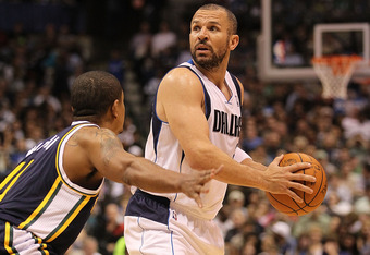 DALLAS, TX - FEBRUARY 23:  Guard Jason Kidd #2 of the Dallas Mavericks at American Airlines Center on February 23, 2011 in Dallas, Texas.  NOTE TO USER: User expressly acknowledges and agrees that, by downloading and or using this photograph, User is cons
